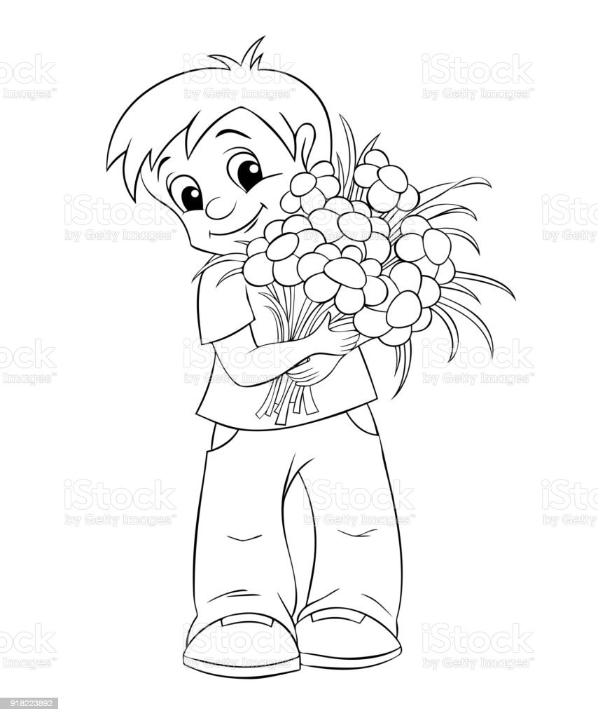 Cute Little Boy With Bouquet Black And White Illustration For