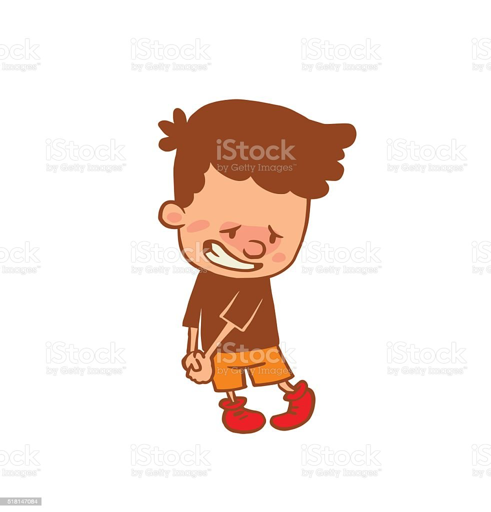Cute little boy with guilty expression on face, color image vector art illustration