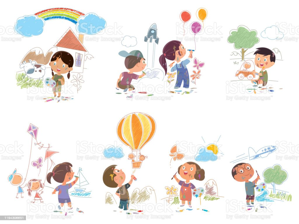 Cute Little Boys And Girls Drawing With Color Paints And Pencils Set Young Artists Kids Activity Stock Illustration Download Image Now Istock