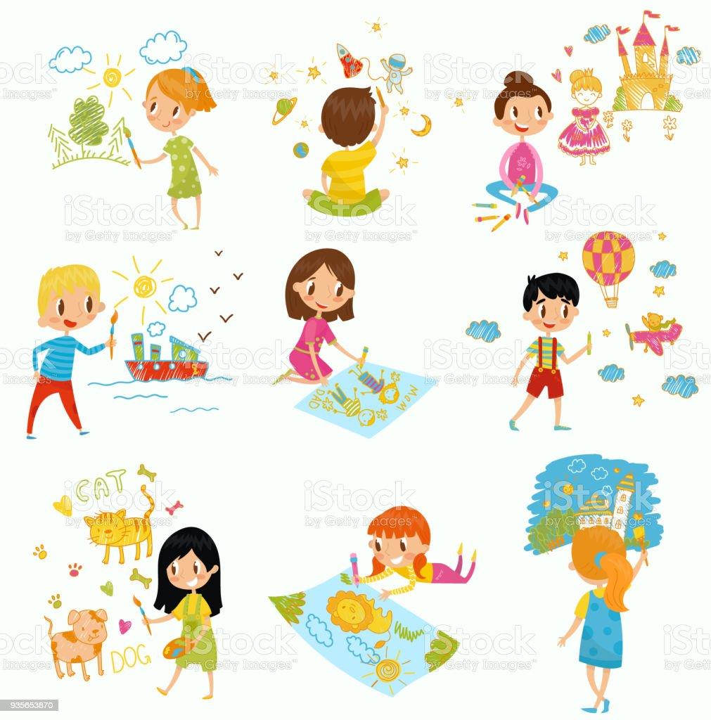 02239721274d Lindos niños y niñas dibujando con pinturas de color y conjunto de lápices,  jóvenes artistas