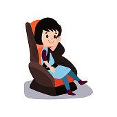 Cute little brunette girl sitting on a car seat wearing seat belt, safe child traveling cartoon vector illustration