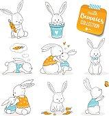 Cute little bunnies set.