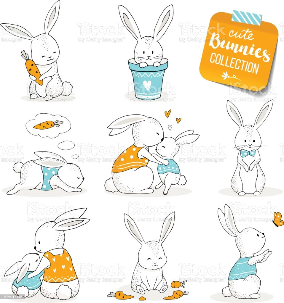 Cute little bunnies set. vector art illustration