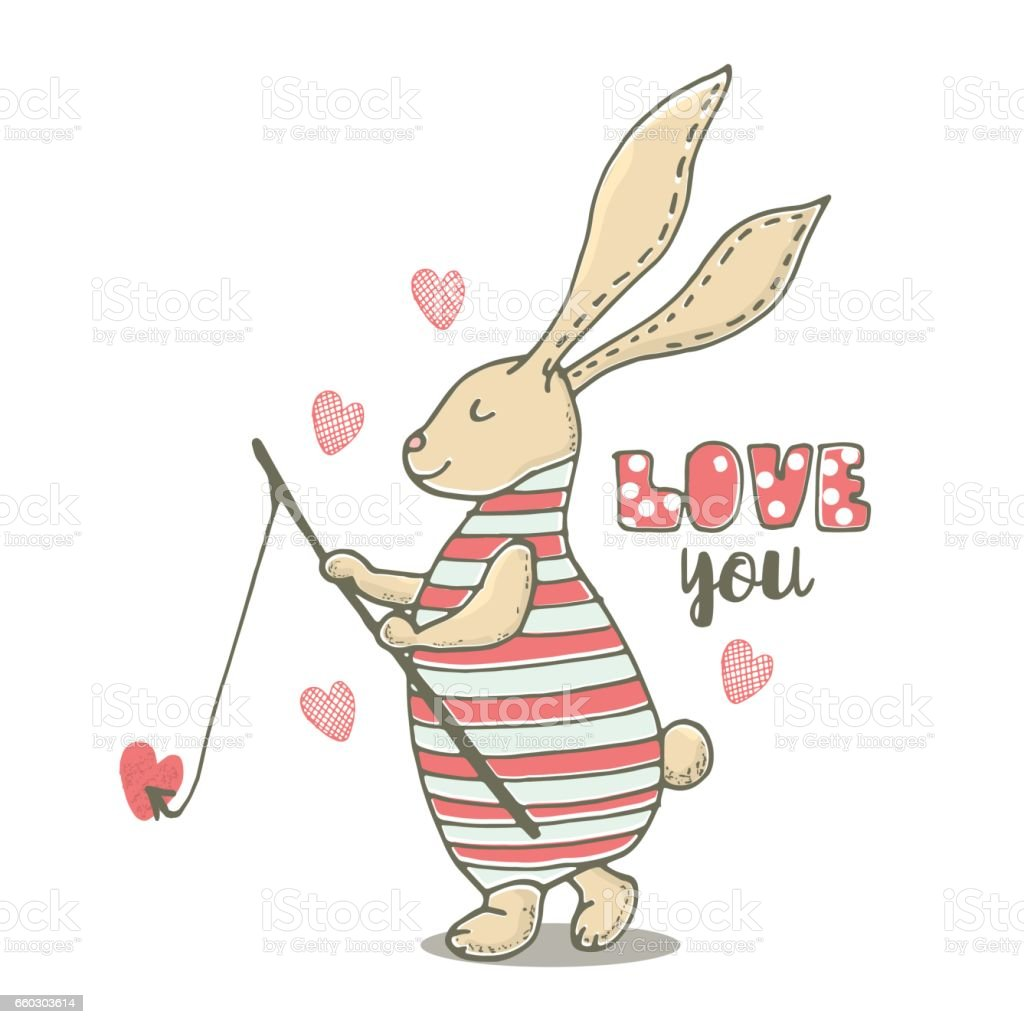Cute little bunny boy with fishing rod . Hand Sketched cartoon rabbit. vector art illustration