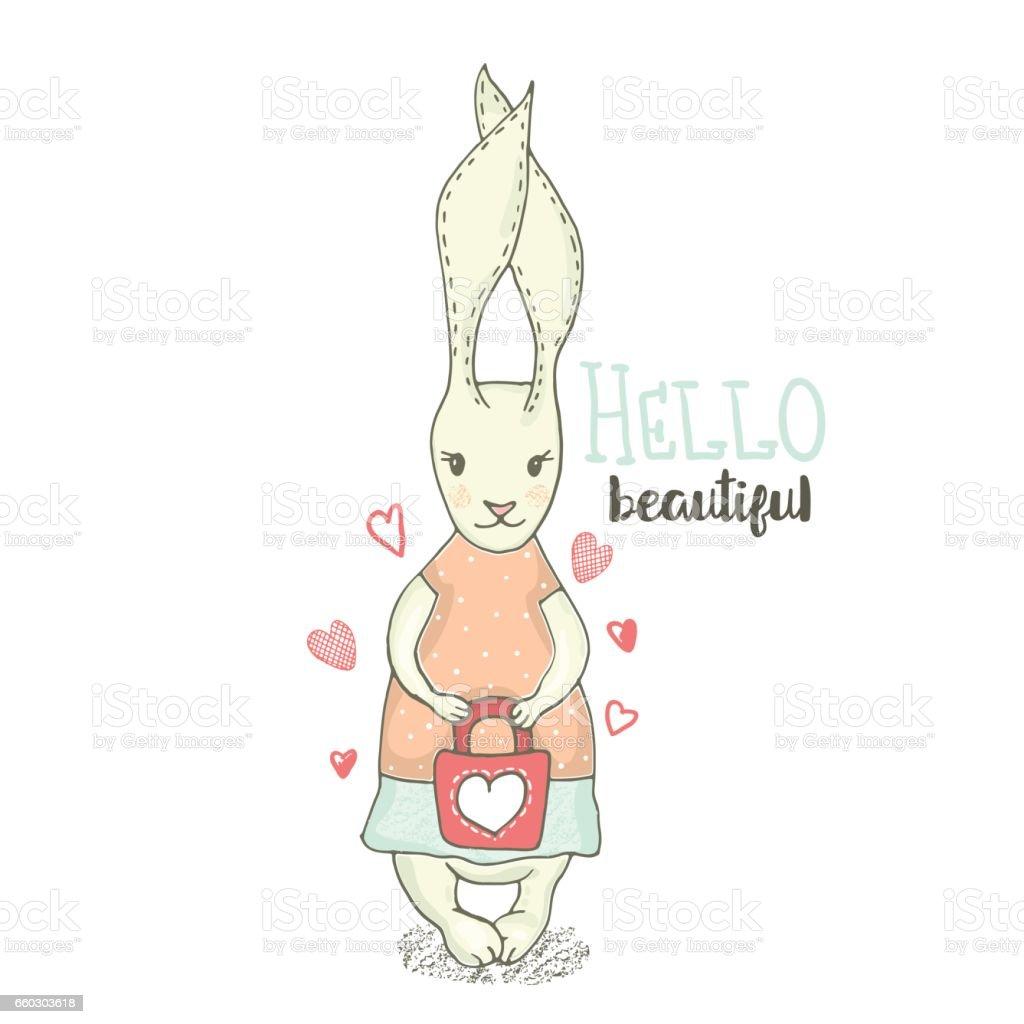 Mignonne Petite Fille Bunny Avec Sac La Main Sketched Lapin