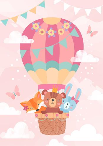 Cute little cartoon animals in a hot air balloon