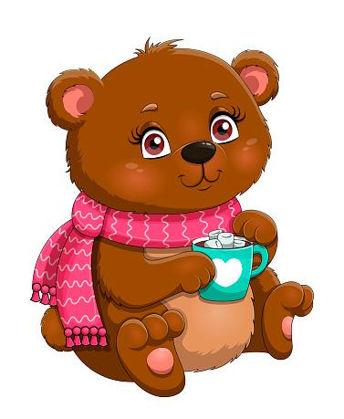 Cute little cartoon bear in scarf drinking a mug of cocoa