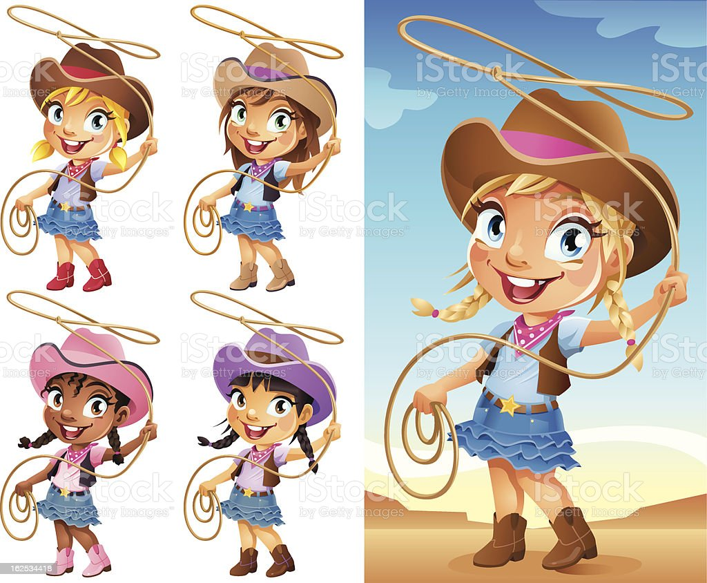 Cute little cartoon cowgirl swinging a Lasso royalty-free stock vector art