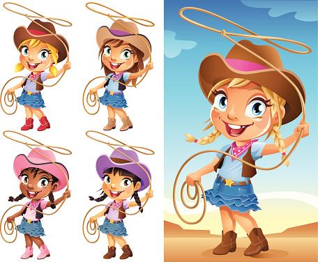 Cute little cartoon cowgirl swinging a Lasso