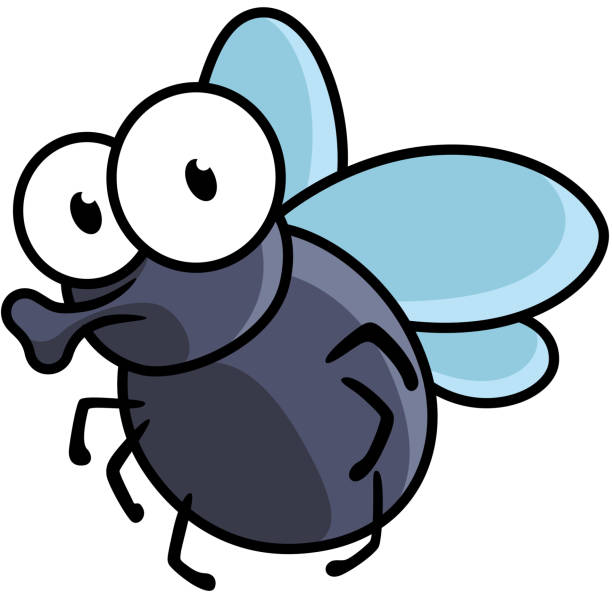 Cute little cartoon fly insect Cute little cartoon fly insect in blue with big googly eyes and a protruding proboscis fly insect stock illustrations