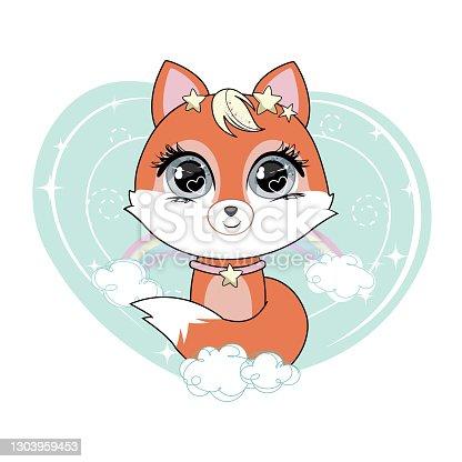istock Cute little cartoon fox sitting on cloud. 1303959453
