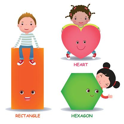 Cute little cartoon kids with basic shapes heart hexagon rectangle