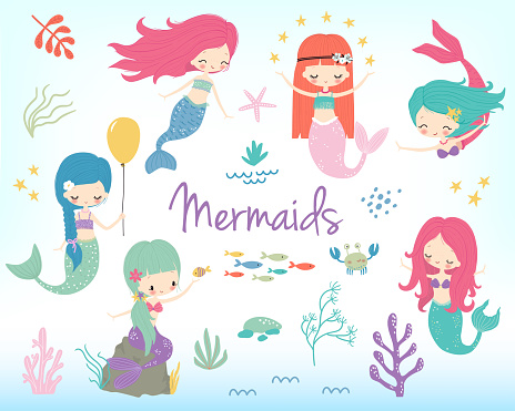 Cute little cartoon mermaids clip art. Vector illustration