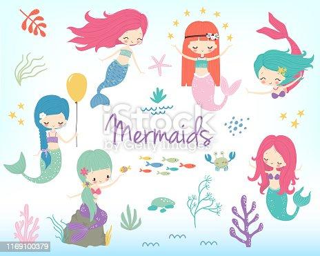 Cute little cartoon mermaids clipart. Vector illustration. Marine nautical life childish cartoon character set