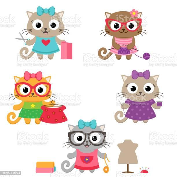 Cute little cat girls with sewing accessories vector id1095003274?b=1&k=6&m=1095003274&s=612x612&h=bfwpktnj9op9oaf94dcajmo2mqctug7jvusqm24qmxa=