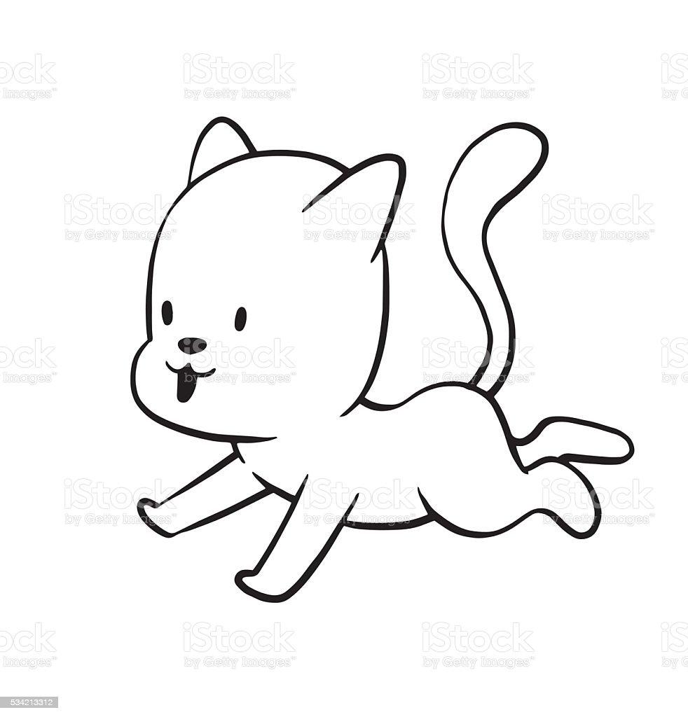 かわいい小さな猫のモノクロスタイル のイラスト素材 534213312 | istock
