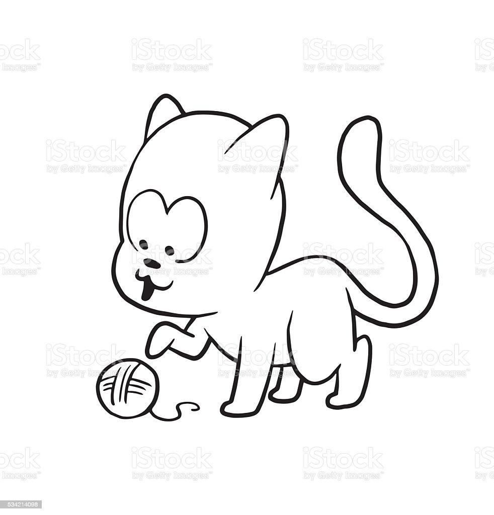 かわいい小さな猫と遊ぶボールの糸モノクロスタイル のイラスト素材