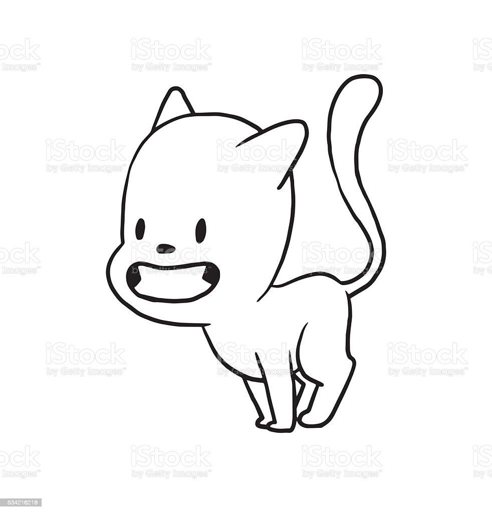 かわいい小さな猫耳を笑顔で耳モノクロスタイル のイラスト素材