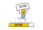 Cute little character happily announcing the new year approaching. Loading Bar almost reaching 2018. Vector doodle illustration