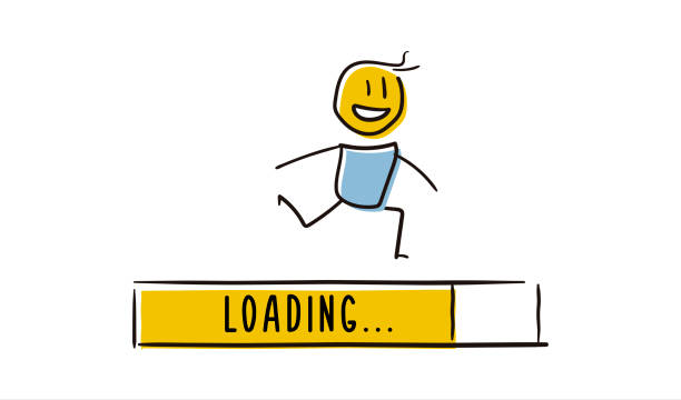 Cute little character running with loading bar reaching the end. Concept symbolizing progress. Vector doodle illustration vector eps10 waiting stock illustrations