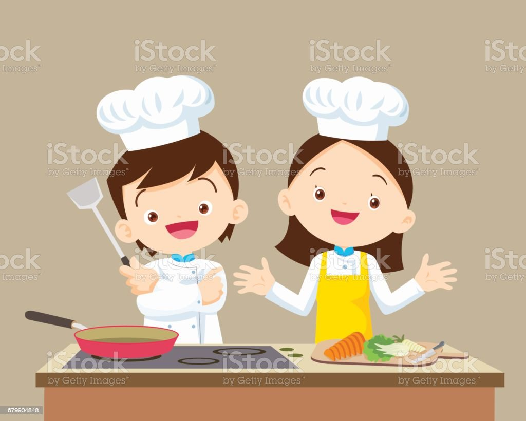 Cute little Chef boy and Girl vector art illustration