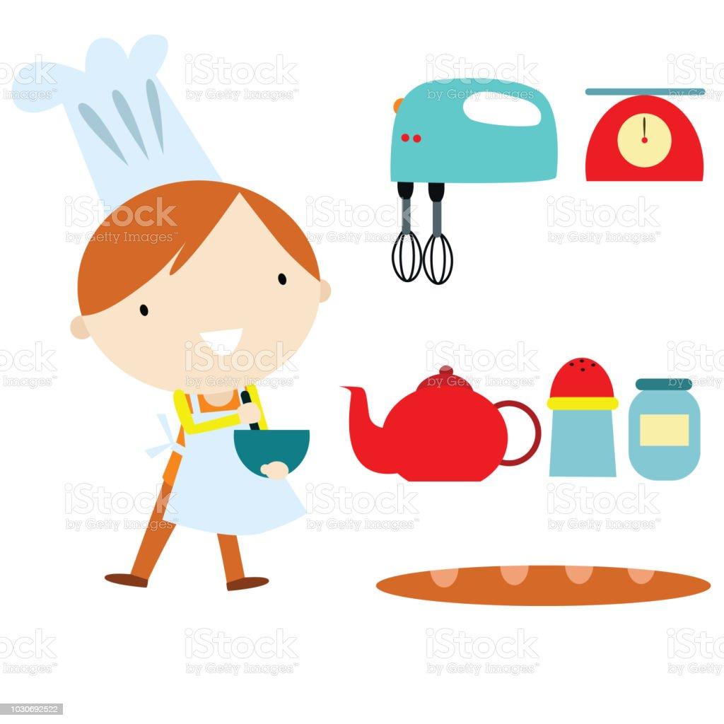 かわいい小さなシェフ子供キッチン用品漫画のキャラクター 1人の