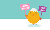 Cute little chick with happy Easter sign- Vector Illustration