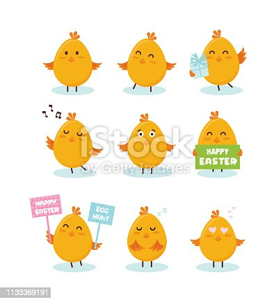 Cute little chicks banner with greeting speech bubbles- Vector illustration