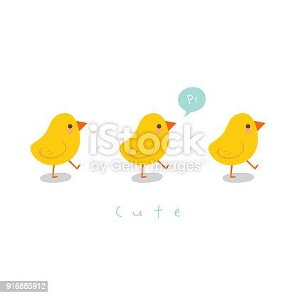 istock Cute little chicks.Greeting card 916885912