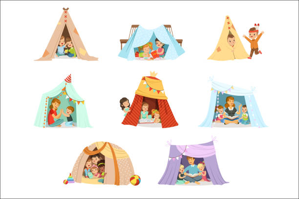 Cute little children playing with a teepee tent, set for label design. Cartoon detailed colorful Illustrations Cute little children playing with a teepee tent, set for label design. Funny lovely children having fun with their parents in children room. Cartoon detailed colorful Illustrations isolated on white background teepee stock illustrations