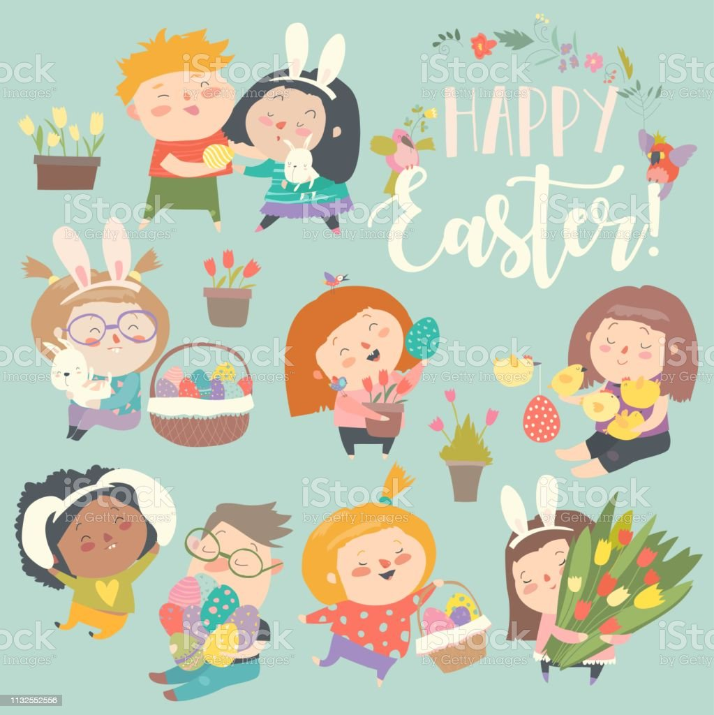 Cute Little Children With Easter Theme Happy Easter Stock