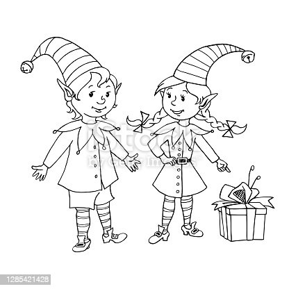 istock Cute little Christmas Elves girl and boy. Vector hand drawn black outline Cartoon characters. Simple illustration for New year and xmas design, greeting cards, calendars, prints, coloring book 1285421428