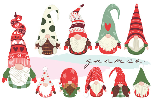 A vector illustration of Cute Little Christmas Gnome Collections Set. Perfect for invitation, web design, scrapbooking, papers, card making, stationery, card and many more.
