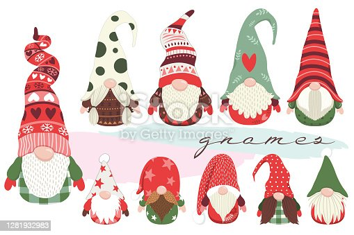 istock Cute Little Christmas Gnome Collections Set 1281932983