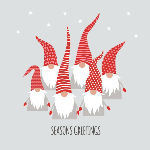 cute little Christmas Gnomes , Season Greetings, Christmas card cute little Christmas Gnomes , Season Greetings, Christmas card, vector illustration funny christmas stock illustrations