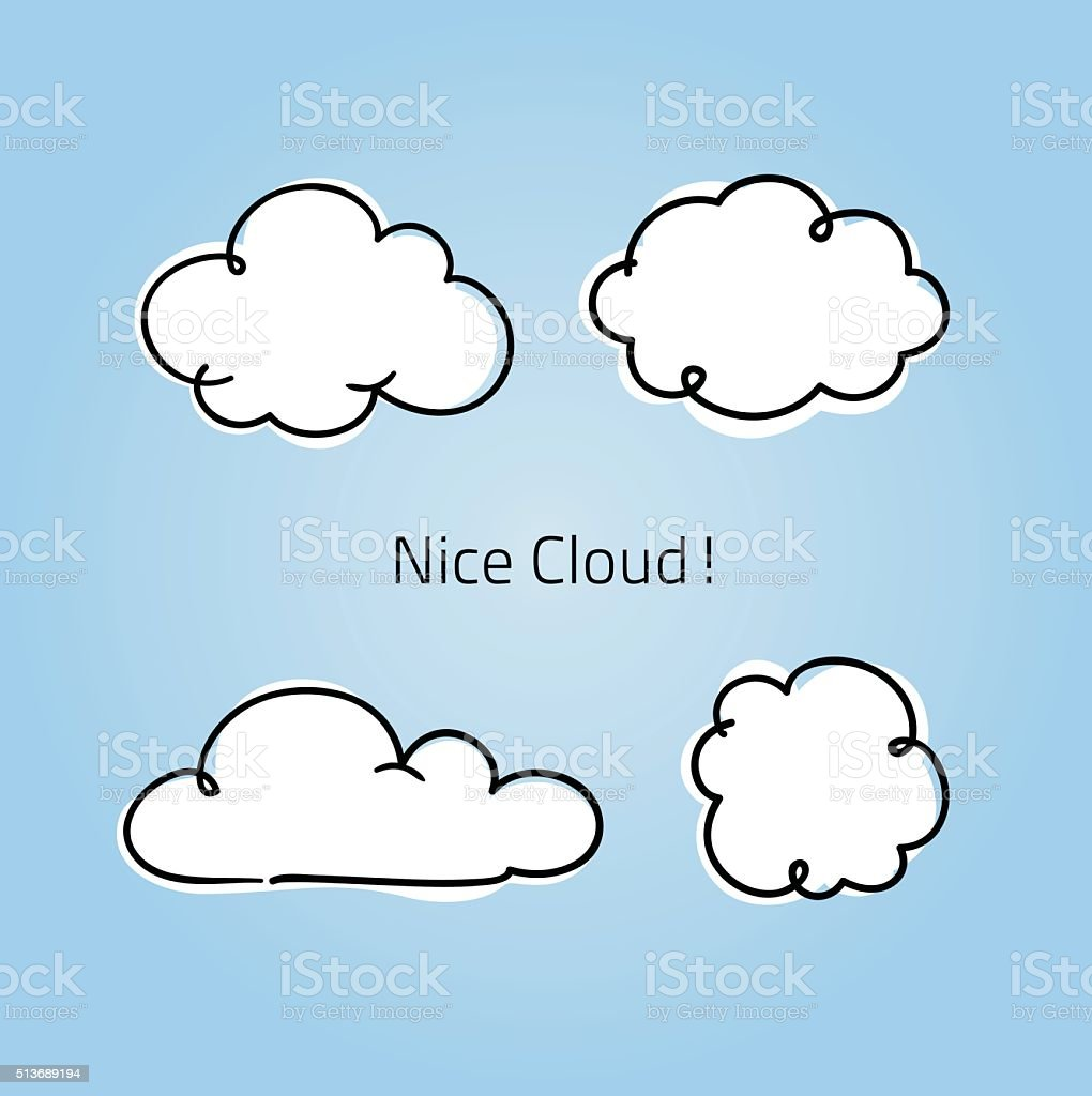 Cute little clouds vector art illustration