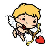 Cute cupid  Illustration of a Valentine's Day. Vector. Isolated on white background