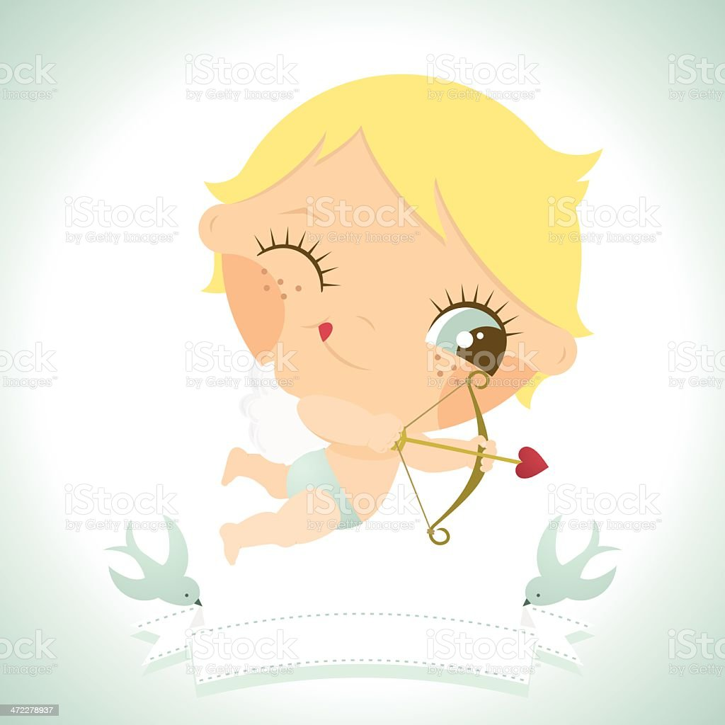 Cute little cupid. St Valentine´s day. I Love you vector art illustration