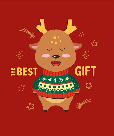 Cute little deer smiling. Happy New Year. The best gift. Animal kingdom set. Super-kawaii and adorable animals. Cartoon character and lettering. Flat illustration for kid's poster, t-shirt, other art.