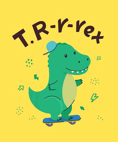 Cute little dinosaur smiling, riding a scooter. T.rex. Animal kingdom set. Super-kawaii and adorable animals. Cartoon character and lettering. Flat illustration for kid's poster, t-shirt and other art