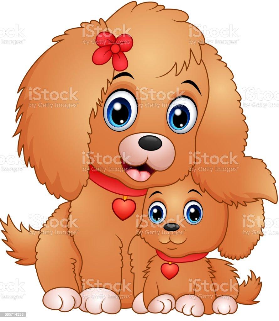 Ilustración De Cute Dibujos Animados De Perros Pequeños Y Más Banco
