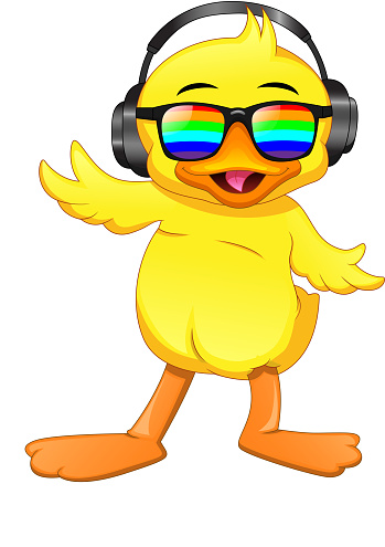 Cute little duck wear glasses and listen to music