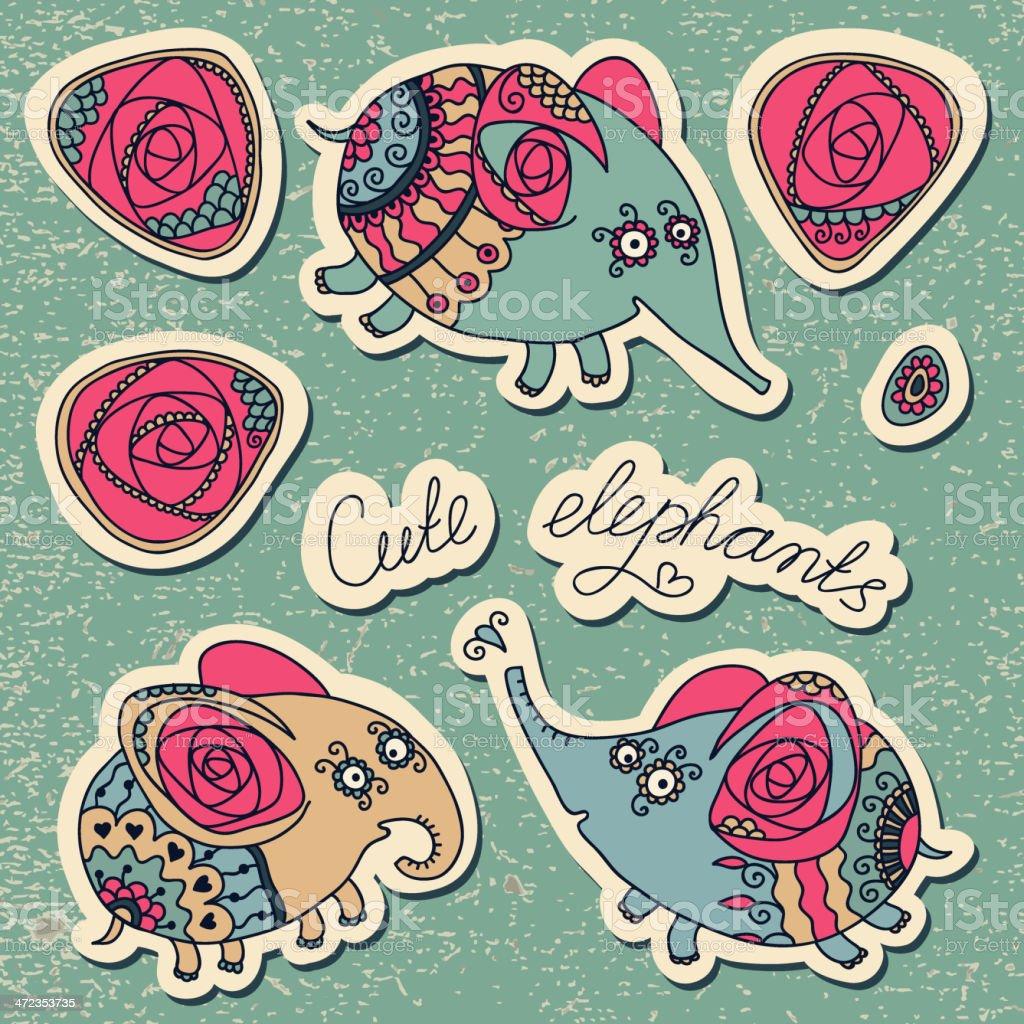 Cute little elephants royalty-free cute little elephants stock vector art & more images of animal