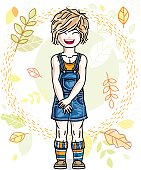 Cute little fair-haired girl standing on background of autumn landscape and wearing stylish casual clothes. Vector human illustration.