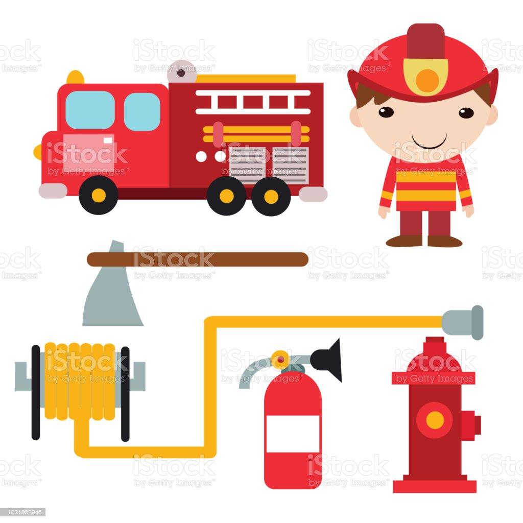lindo pequeño bombero con variación de equipo, personaje de dibujos animados de bomberos - ilustración de arte vectorial