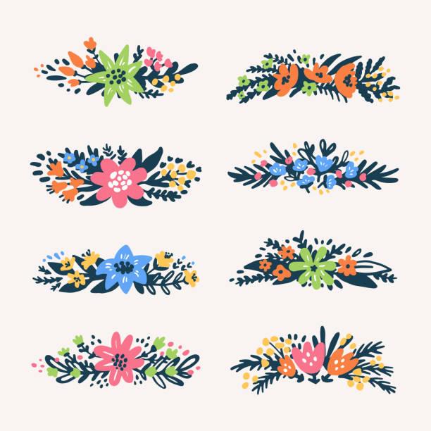 かわいい小さな花の花束枠、レトロな花。ために有用な作成結婚式カード、製品パッケージ、ロゴ、テキスト デザインの招待状、 - 休日/季節ごとのイベント点のイラスト素材/クリップアート素材/マンガ素材/アイコン素材