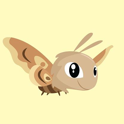 cute little flying moth, cartoon character