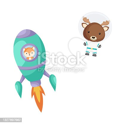 istock Cute little fox flying in turquoise rocket. Cartoon moose character in space costume with rocket on white background. Design for baby shower, invitation card, wall decor. Vector illustration 1327897662