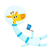 Cute giraffe astronaut, spaceman character wearing space suit, holding a flag, cartoon vector illustration isolated on white background. Funny giraffe astronaut, spaceman floating in open space