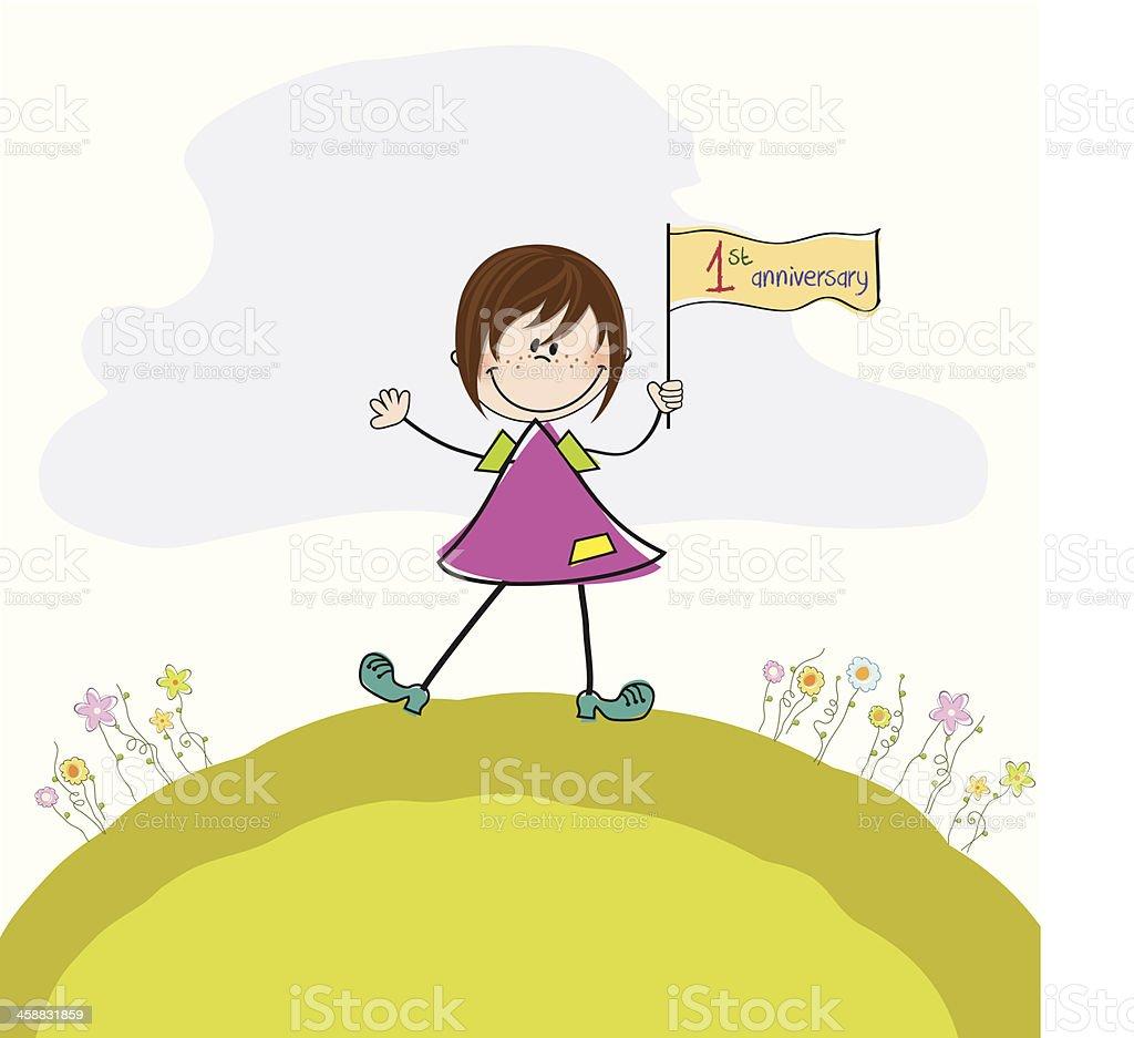 かわいい小さな女の子の初めての結婚記念日 のイラスト素材 458831859